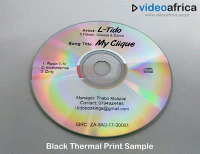 black thermal disc print example